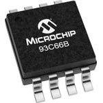 93C66B-I/MS, EEPROM, 4 Кбит, 256 x 16бит, Serial Microwire, 2 МГц, MSOP, 8 вывод(-ов)