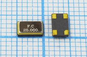 кварцевый резонатор 25МГц в корпусе SMD 5x3.2мм, 4-х контактный, 25000 \SMD05032C4\27\ 20\ 20/-20~70C\SX5S\1Г