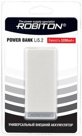 ROBITON POWER BANK Li5.2-W 5200мАч белый BL1, Универсальный внешний аккумулятор