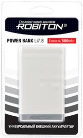 Фото 1/2 ROBITON POWER BANK Li7.8-W 7800мАч белый BL1, Универсальный внешний аккумулятор
