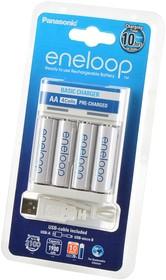 Фото 1/2 Panasonic eneloop K-KJ61MCC40USB Basic Charger + 4АА1900мАч BL1, Зарядное устройство с аккумуляторами