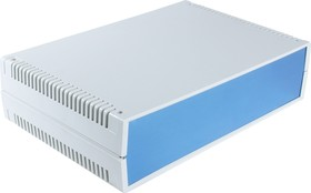 G756VA, Корпус для РЭА 300х200х75мм, пластик, светло-серый, алюминиевая панель, с вентиляц. отв.