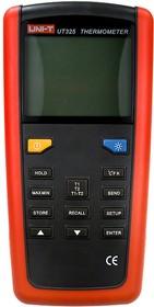 Фото 1/2 UT325, Измеритель температуры, контактный 2-х канальный, от -200 до +1767°C
