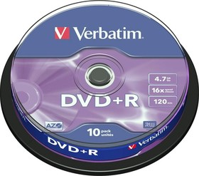 Фото 1/3 Оптический диск DVD-R VERBATIM 4.7Гб 16x, 5шт., jewel case [43519]