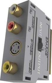 BW1102G (BGL1102;SG1102), Переходник SCART - 3 RCA+S-VHS, GOLD, с переключателем