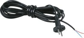 Шнур 3м с вилкой (S18) ШВВП 2x0.5мм (черный)