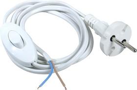 Шнур 1.5м с вилкой (S18) ШВВП-ВП 2х0.75мм белый с переключателем