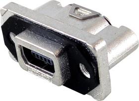 MUSBRE15130, Герметичный разъем USB, Mini USB Типа AB, USB 2.0, Гнездо, 5 Позиций, Монтаж в Панель, IP67