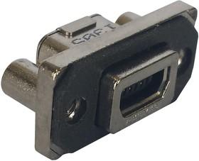 MUSBE15104, Разъем USB, Mini USB Типа AB, USB 2.0, Гнездо, 5 вывод(-ов), Монтаж в Панель, Прямой Угол