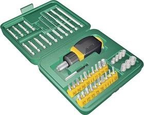 Фото 1/3 25556-H43, Набор Отвертка реверсивная с битами и торцевыми головками и сверлами, 43 предмета