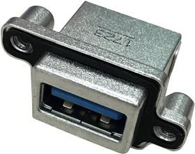 Фото 1/2 MUSBR-3193-M0, Герметичный разъем USB, угловой, прочный, USB Типа A, USB 3.0, Гнездо, 9 Позиций, Монтаж в Панель