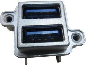 MUSBR-4593-M0, Герметичный разъем USB, вертикальный, прочный, составной, 2 порта, USB Типа A, USB 3.0, Гнездо