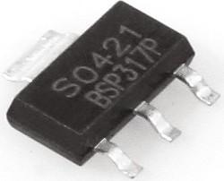 Фото 1/3 BSP317P, Транзистор, P-канал, 250В 430мА 4Ом [SOT-223]