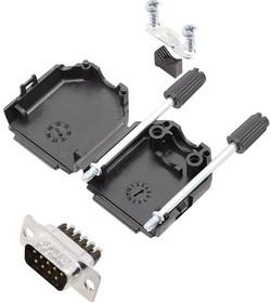 L17DPPK15-BK+L717DA15PST, Разъем D Sub, W/ Backshell, Standard, Штекер, DPPK-BK Series, 15 контакт(-ов), DA, Винт