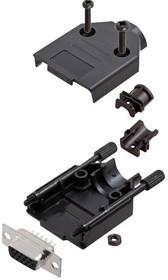 L17DTPK-P-09+L77HDE15S, Разъем D Sub, HD, W/ Backshell, High Density, Гнездо, DTPK-P Series, 15 контакт(-ов), DE