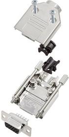 L17DTPK-M-09+L77HDE15S, Разъем D Sub, HD, W/ Backshell, High Density, Гнездо, DTPK-M Series, 15 контакт(-ов), DE