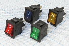Фото 1/2 Клавишный выключатель 2-х полюсный с синей подсветкой, 220В/6А,c фиксацией,№1032 b ПКл\ 4T\6А\ON-OFF\\ ILсин\MIRS201