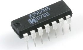 """К155ЛН3, 6 логических элементов """"НЕ"""" с повышенным коллекторным напряжением (SN7406N)"""