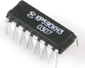 Фото 1/2 КР590КН3 (00-04г.), 8-ми канальный (4*2) аналоговый коммутатор с дешифратором для коммутации напряжений от -15В до 15В (