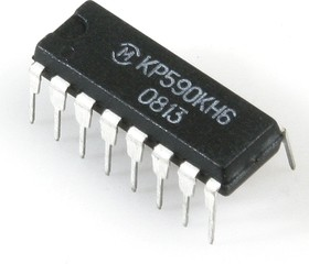 Фото 1/2 КР590КН6, 8-ми канальный аналоговый коммутатор с дешифратором для коммутации напряжений от -15В до 15В