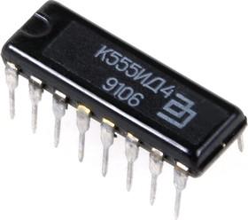 Фото 1/2 К555ИД4 (90-92г), Сдвоенный дешифратор-мультиплексор 2 х 4 (SN74LS155N)