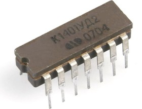 Фото 1/2 К1401УД2Б (90-97г), Счетверенный операционный усилитель с внутренней частотной коррекцией
