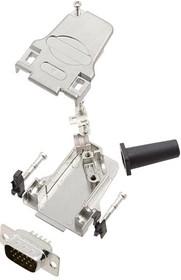 L17D45ZF09-RG+L717HDE15P, Разъем D Sub, HD, W/ Backshell, High Density, Штекер, D45ZF-RG Series, 15 контакт(-ов), DE, Пайка