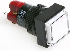 Фото 1/2 D16LMS1-1ABOW, Кнопка без фиксации,щитовые (5A 250VAC), без подсветки