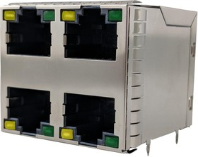 RJSGE4886411, 8P8C, CAT5E, PRESSFIT, 2X2 STACKED, SHIELD, WITH LEDS 01AH2274