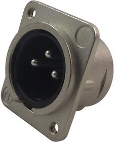 NC3MDM3L1, Аудио разъем XLR, 3 контакт(-ов), Штекер, Монтаж в Панель, Контакты с Покрытием из Серебра