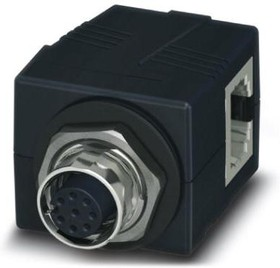 1405057, Control cabinet feed-through, M12, 8-pos., A-coded on RJ45 socket, socket input 90°, IP65/67