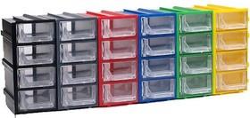 К5, Ячейки, цветной корпус прозрачный контейнер 4 секции, 49х82х100мм
