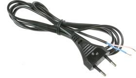 Шнур 1.7м с плоской вилкой (S52) ШВВП-ВП 2х0.5мм (черный)