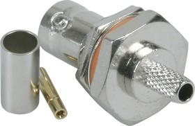 HYR-0122A (GB-122A) (BNC-7023A) (BNC-BC58J), Разъем BNC, гнездо, RG-58, панель, обжим (Panel crimp)