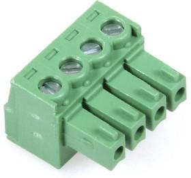 KLS2-EDK-3.81-04P-4S (EC381V-04P), Клеммник 4-контактный, 3.81мм, прямой