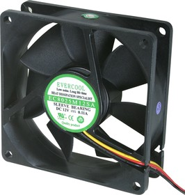 EC8025M12SA, Вентилятор 12 в, 80х80х25мм , подш. скольжения, 2500 об/мин