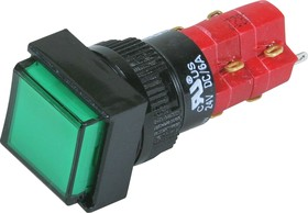 D16LAS1-2abJG, Кнопка с фиксацией зеленая (5A 250VAC), LED подсветка 12VDC
