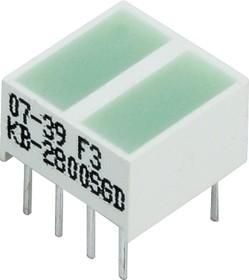 KB-2800SGD, Полоса световая 2 сегм. зеленая 10x10мм 50мКд