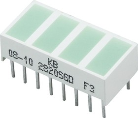 KB-2820SGD, Световая полоса 4 сегм. зеленая 20x10мм 40мКд