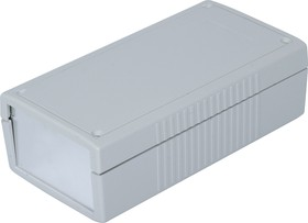 G454A, Корпус для РЭА 190х100х60мм, пластик, светло-серый, алюминиевая панель