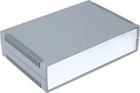 Фото 1/2 G735AV, Корпус для РЭА 300х200х75мм, пластик, темно-серый, алюминиевая панель, с вентиляц. отв.
