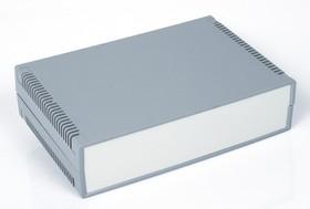 Фото 1/2 G735V, Корпус для РЭА 300х200х75мм, пластик, темно-серый, светло-серая панель, с вентиляц. отв.