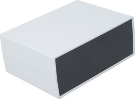 G749, Корпус для РЭА 225х165х90мм, пластик, светло-серый, черная панель