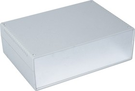 Фото 1/3 G753A, Корпус для РЭА 260х180х85мм, пластик, светло-серый, алюминиевая панель