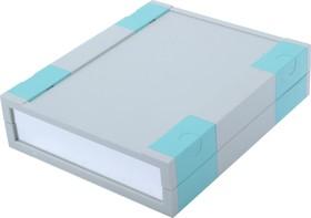 G777, Корпус для РЭА 197х167х50мм, пластик, светло-серый, алюминиевая панель, на ножках