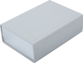 Фото 1/3 G767A, Корпус для РЭА 140х190х60мм, пластик, светло-серый, алюминиевая панель