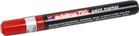 Фото 1/2 Edding 791, Лаковый маркер с круг.након., d=1.0-2.0мм, красный
