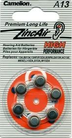 Фото 1/2 ZA13, Элемент питания воздушно-цинковый(для слуховых аппаратов)(6шт) 1.4В