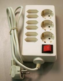 S9x5-ZV-W, Удлинитель сетевой, 9 розеток, заземление, выключатель, 5м
