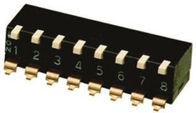 Фото 1/2 A6SR8104, Switch DIP OFF ON SPST 8 Piano 0.025A 24VDC Gull Wing 1000Cycles 2.54mm SMD Stick